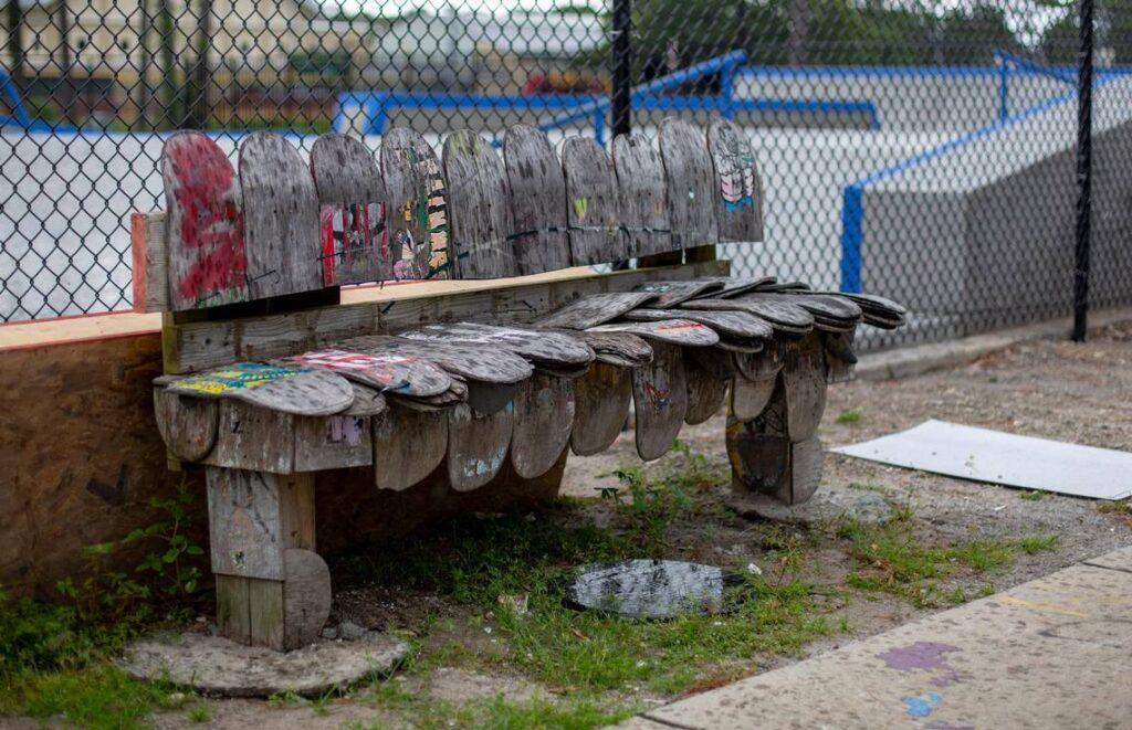 The bench is crafted using skateboard decks in memory of Matt Hughes - Myrtle Beach South Carolina Skateparks.